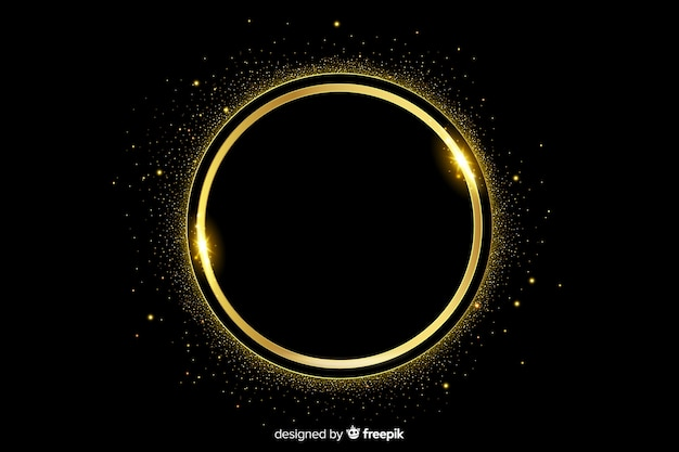 Cadre étincelant doré sur fond sombre