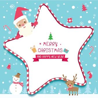 Cadre étoile de Noël avec Père Noël, bonhomme de neige et renne