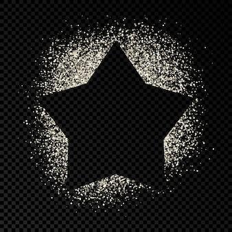 Cadre en étoile avec des paillettes d'argent sur fond transparent foncé. arrière-plan vide. illustration vectorielle.