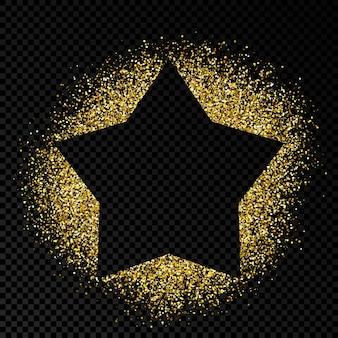 Cadre en étoile avec des paillettes dorées sur fond transparent foncé. arrière-plan vide. illustration vectorielle.