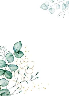 Cadre d'eucalyptus aquarelle.