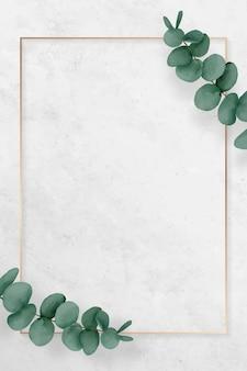 Cadre d'eucalyptus rectangle blanc