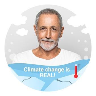 Cadre facebook de changement climatique dessiné à la main