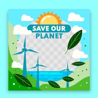 Cadre facebook de changement climatique plat organique