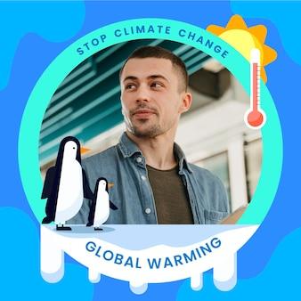 Cadre facebook de changement climatique plat pour photo de profil