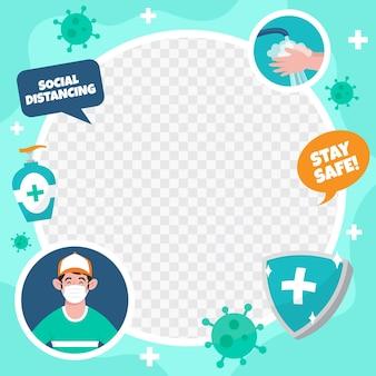 Cadre facebook de coronavirus avec éléments dessinés