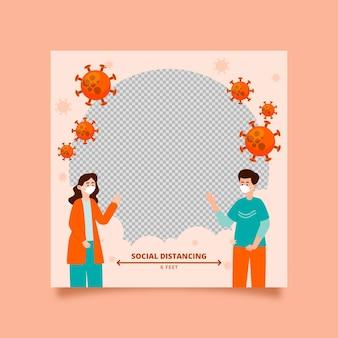 Cadre Facebook De Coronavirus Plat Organique Vecteur gratuit