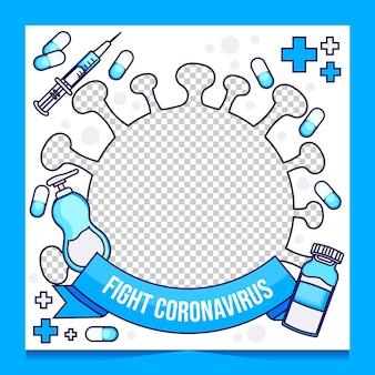 Cadre facebook de coronavirus plat organique