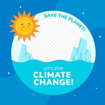 Cadre facebook créatif sur le changement climatique