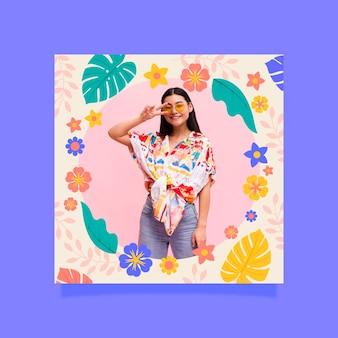 Cadre facebook floral design plat