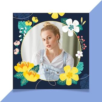 Cadre facebook floral dessiné à la main