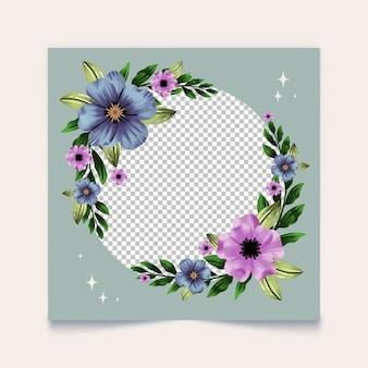Cadre Facebook Floral Dessiné à La Main Vecteur gratuit