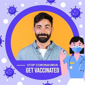 Cadre facebook plat coronavirus pour photo de profil