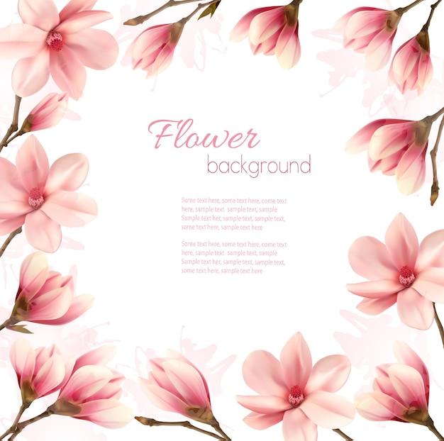 Cadre fait de fleurs de magnolia.