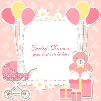 Cadre féminin de baby shower avec des ballons, des cadeaux et un landau