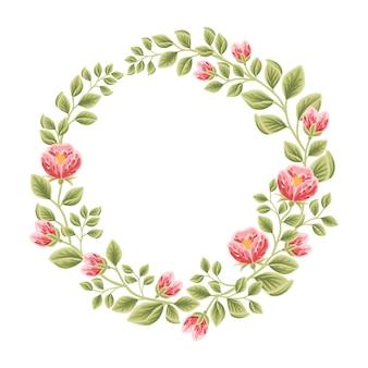 Cadre féminin botanique avec décorations florales pour femme