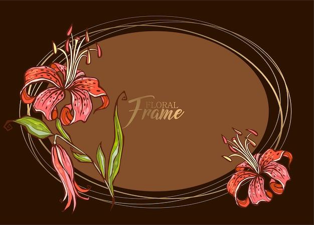 Cadre festif élégant ovale avec fleur de lys.