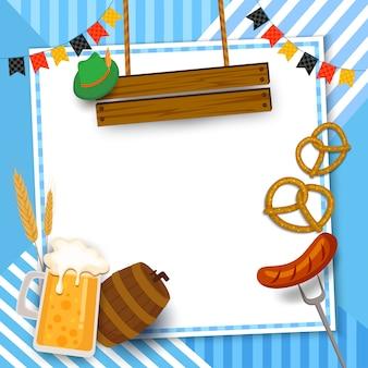 Cadre de festival oktoberfest avec boisson et nourriture sur fond bleu.