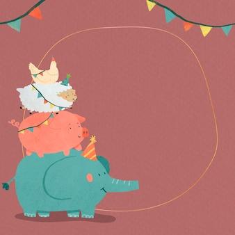 Cadre de fête animal doodle