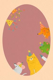 Cadre de fête doodle animal