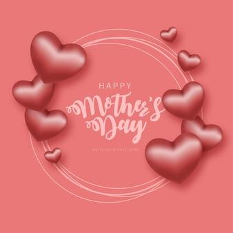 Cadre de fête des mères heureux avec des coeurs réalistes