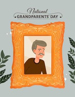 Cadre de fête nationale des grands-parents dessiné à la main avec grand-père