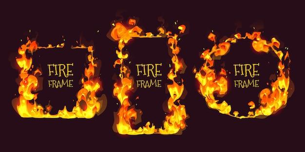 Cadre de feu de beau dessin animé