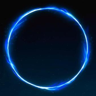 Cadre de feu de cercle bleu rétro