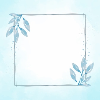Cadre de feuille bleue dessiné à la main sur splash bleu aquarelle