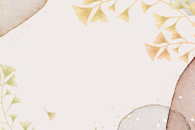 Cadre de feuille de ginkgo scintillant sur fond neutre