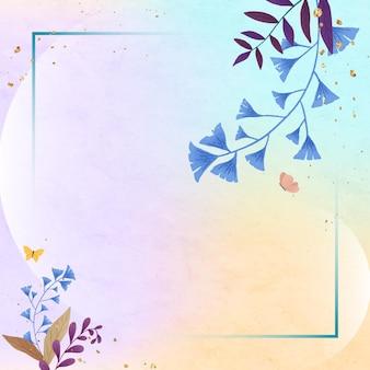 Cadre de feuille rectangle coloré