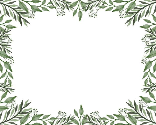 Cadre de feuille verte fond blanc avec bordure de feuille verte