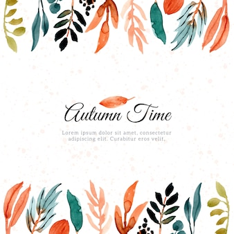 Cadre de feuilles d'aquarelle d'automne