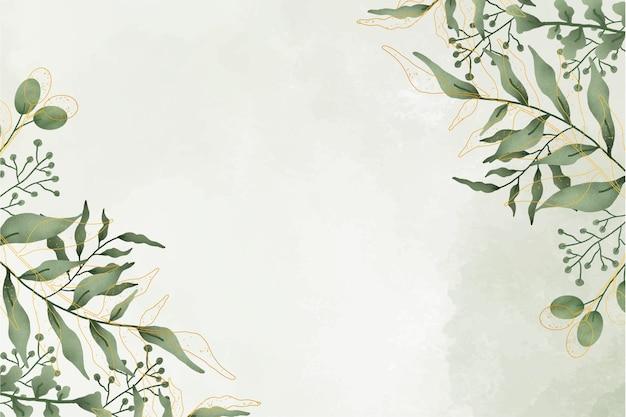 Cadre de feuilles aquarelle mignon avec fond aquarelle