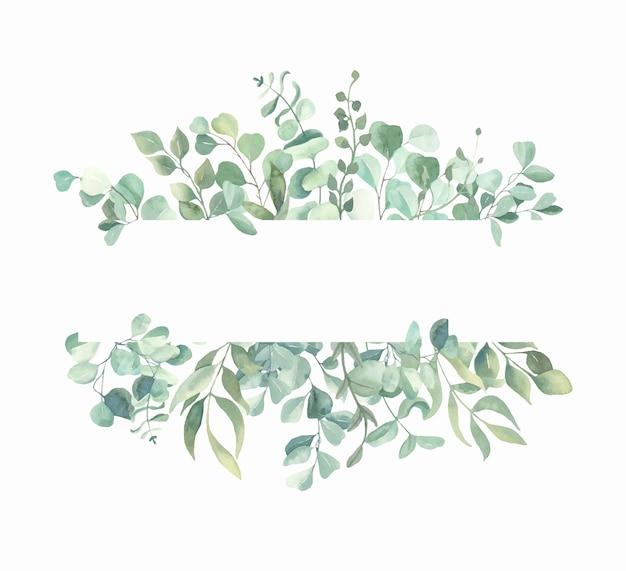Cadre de feuilles aquarelle peinte à la main.