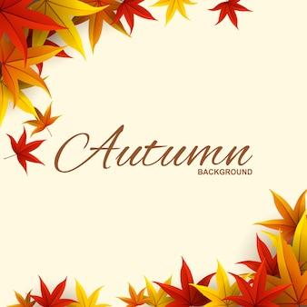 Cadre avec des feuilles d'automne rouges, orange et jaunes.