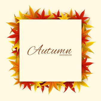 Cadre avec des feuilles d'automne rouges, orange et jaunes,