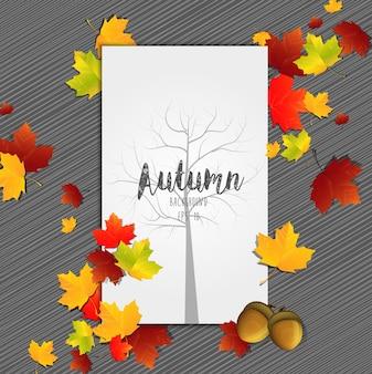 Cadre De Feuilles D'automne Avec La Silhouette De L'arbre Sur Le Papier Central Vecteur Premium