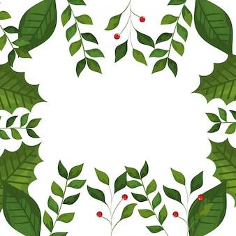 Cadre de feuilles et de branches avec des icônes de noël de graines