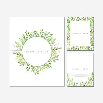 Cadre de feuilles et branches vertes pour invitation de mariage