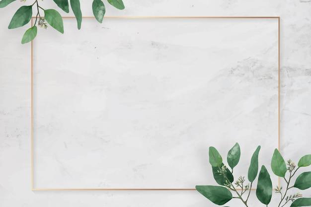 Cadre de feuilles de camélia rectangle blanc