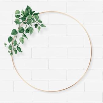 Cadre de feuilles de camélia rond blanc