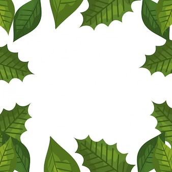 Cadre de feuilles décoratives tropicales
