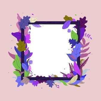 Cadre de feuilles et de fleurs pour la vente de messages publicitaires. carte de voeux floral. cadre photo en bois.