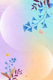 Cadre de feuilles de ginkgo scintillant sur fond coloré