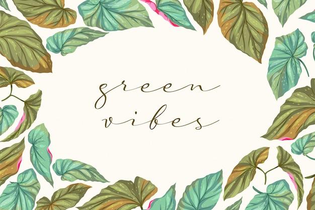 Cadre de feuilles green vibes