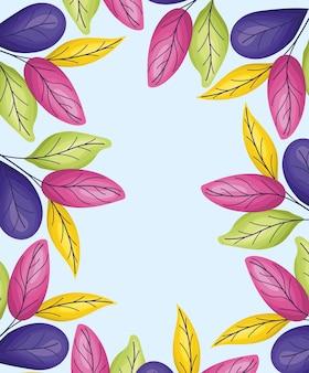 Cadre de feuilles mignonnes