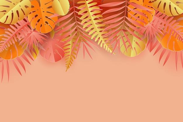 Cadre de feuilles de monstera palmier en papier tropical