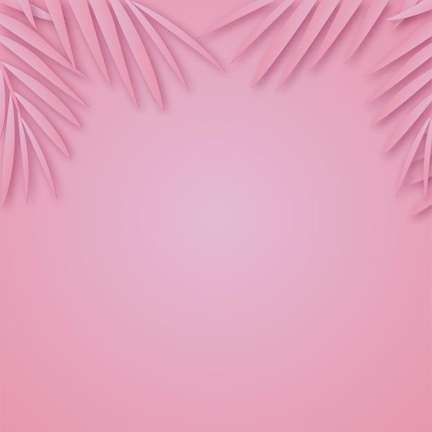 Cadre de feuilles de palmier en papier tropical avec une ombre douce