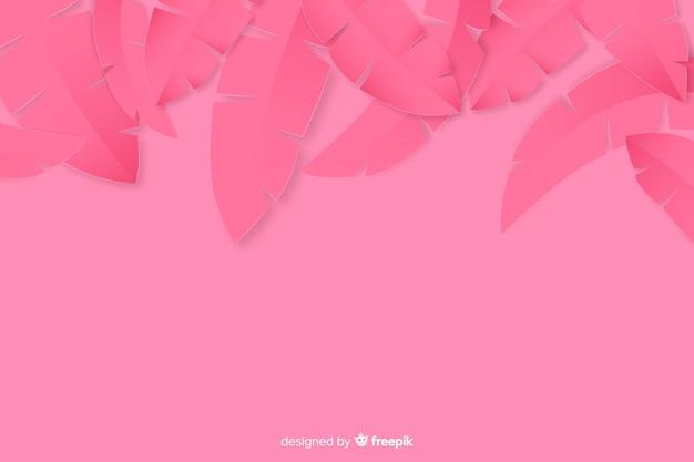 Cadre de feuilles de palmier tropical en rose